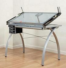 Studio RTA Futura Glass Top Drawing/Drafting Table