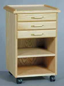 Oak Taboret   3-Drawer