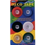 "DECO TAPE BRIGHTS PK/6 (red, blue, black, white, yellow, green), 6 rolls each 1/8"" x 324"""
