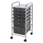 STORAGE CART 6 DWR SMOKE