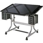 ALVIN® CraftMaster II™ Glass Top Deluxe Art & Drawing Table