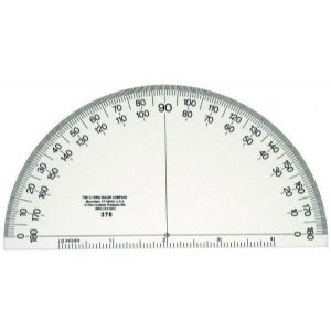 "6"" Academic Transparent Semicircular Protractor"
