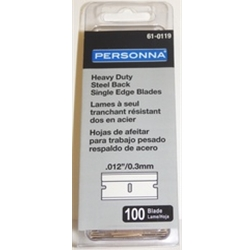 "PERSONNA® Heavy Duty Single Edge Razor Blades, .012"", 100/Box"
